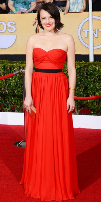 Elisabeth Moss in a red Michael Kors dress at the SAG Awards 2014