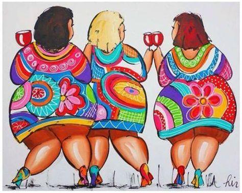 3 chicas gorditas brindando, vectores de mujeres gordas