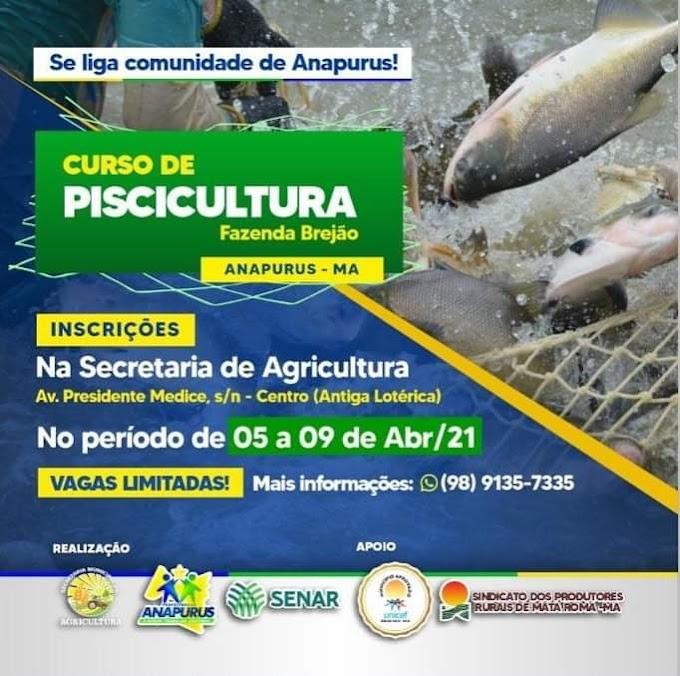 PREFEITURA DE ANAPURUS INICIA INSCRIÇÃO PARA CURSO DE PISCICULTURA