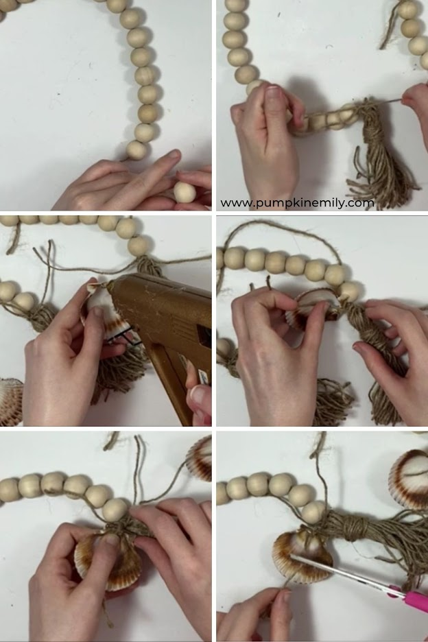 Creating a wood bead garland with tassels and seashells.