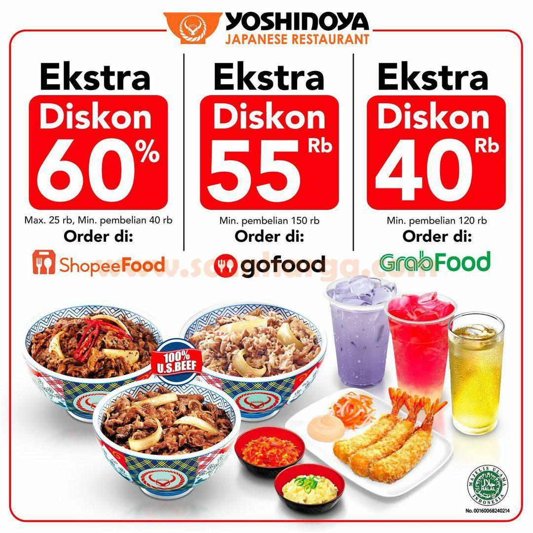 Yoshinoya Promo OJOL Diskon 60% via Grabfood, Gofood & Shopeefood