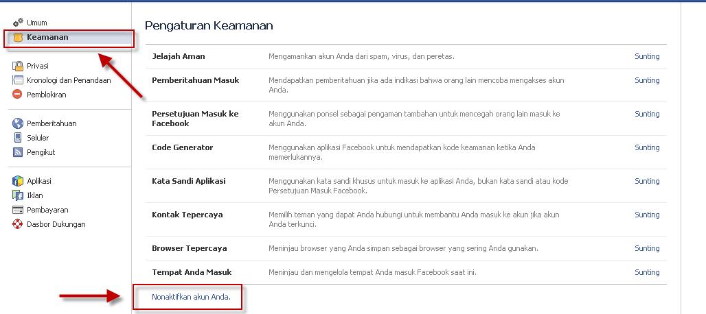 Cara kedua Menghapus Akun Facebook Sementara