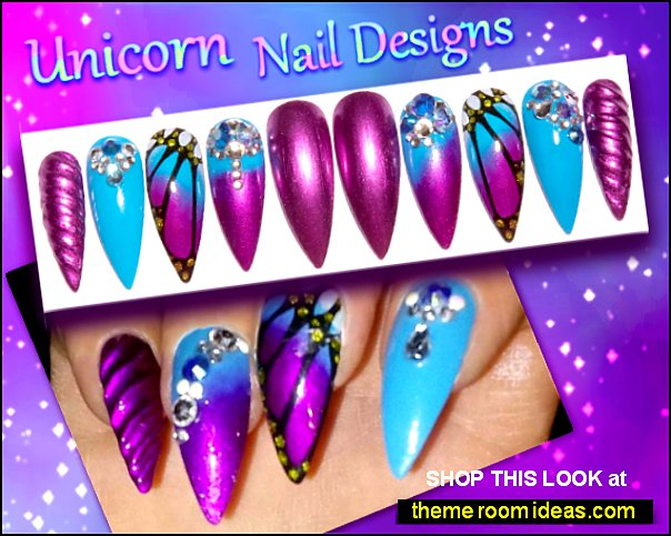 Unicorn nails  unicorn nail art - unicorn rainbow nail decals Unicorn Nails