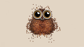 Owl art with Coffee Beans 8k Wallpaper