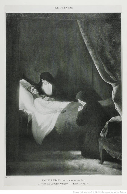 La mort de Molière, dessin du XIXème siècle
