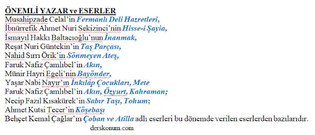 1923-1950 Yılları Arasında Cumhuriyet Dönemi tiyatro eserleri