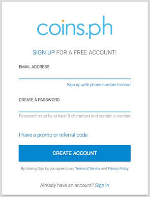 Create An Account to Coins.ph