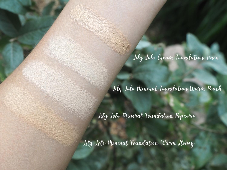 Lily Lolo Cream Foundation Linen Swatch im Vergleich mit Mineral Foundation Warm Peach, Popcorn + Warm Honey