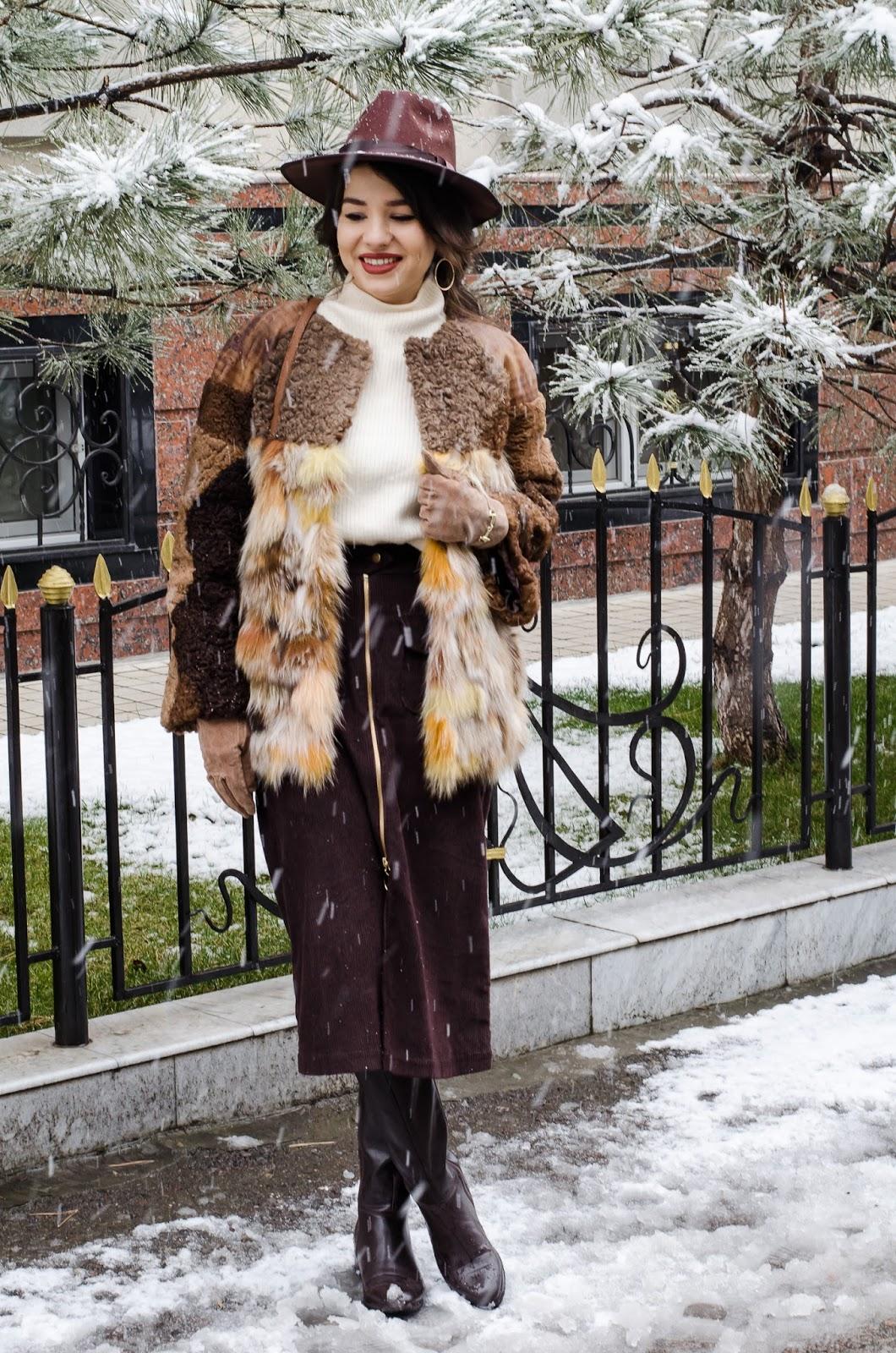 fashion blogger diyorasnotes fur coat kanishka michael kors bag midi velvet skirt