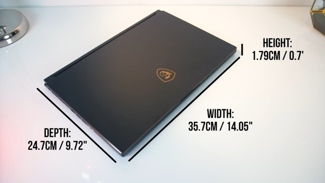 The dimensions of this gaming MSI GS65 laptop are 14.05 x 9.72 x 0.7 inches.