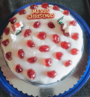 Christmas Cake with glace cherries