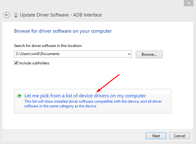 Update Driver ADB interface from my Computer