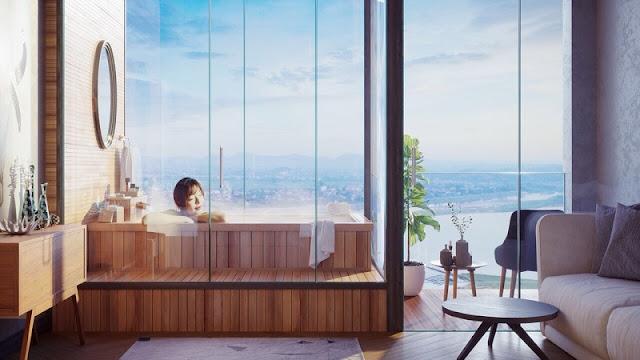 view phòng tắm căn hộ Condotel Wyndham Thanh Thủy
