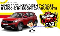 "Logo Concorso "" Company Crazy Car "" : vinci gratis 1000 euro in buoni carburante e 1 Volkswagen T-Cross"