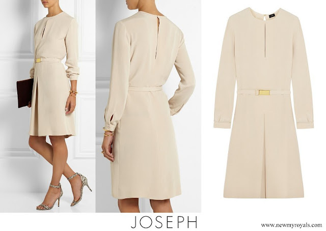Crown Princess Mary wore JOSEPH Natural Lynne Pleated Silk Dress
