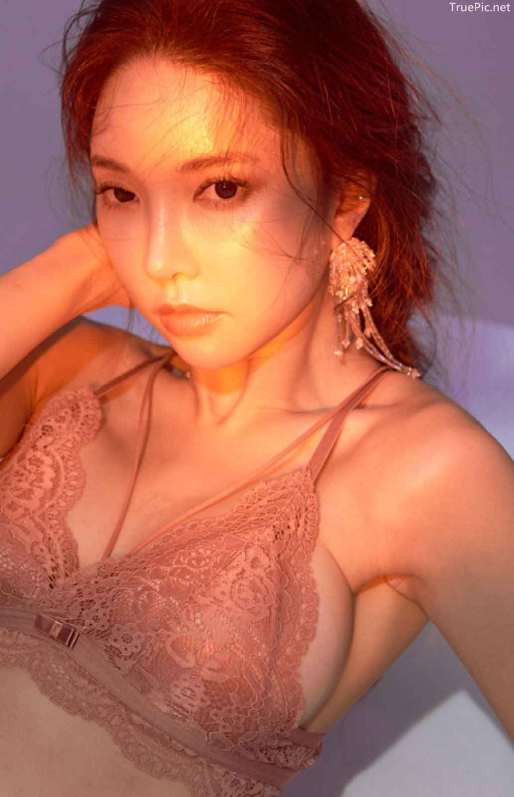 Korean model and fashion - Park Soo Yeon - Off-White Lavender and Salmon Pink Bra - Picture 1