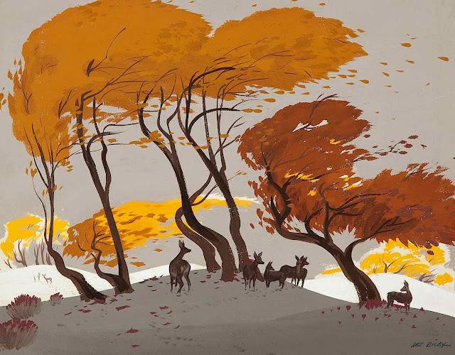 Art Riley color design for Disney, deer among Autumn trees