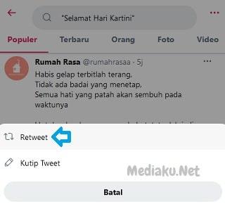 Cara ReTweet Di Twitter Lewat HP