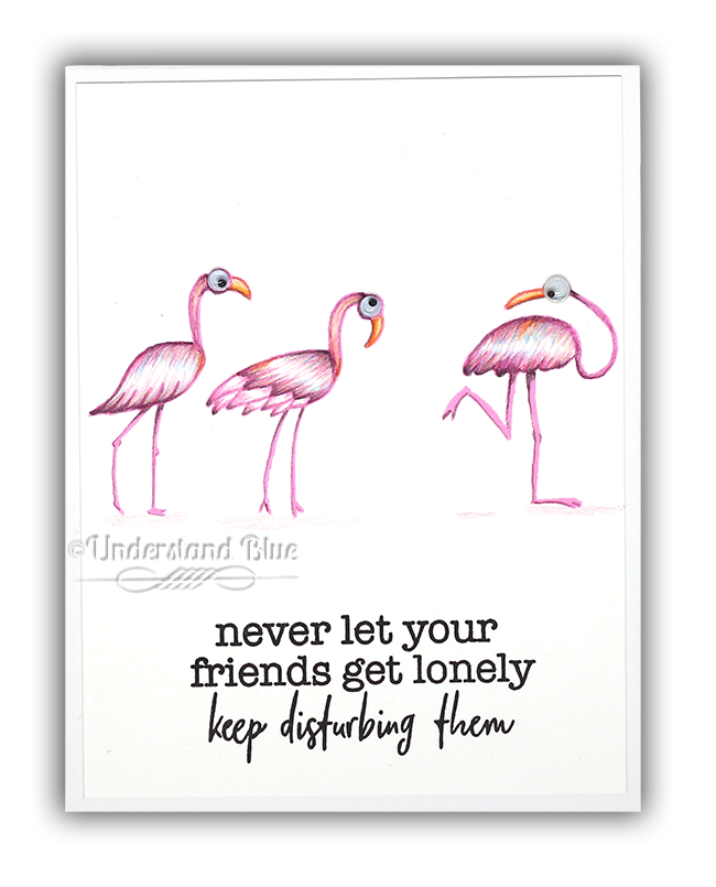 Picket Fence Studios Flamingo Card by Understand Blue