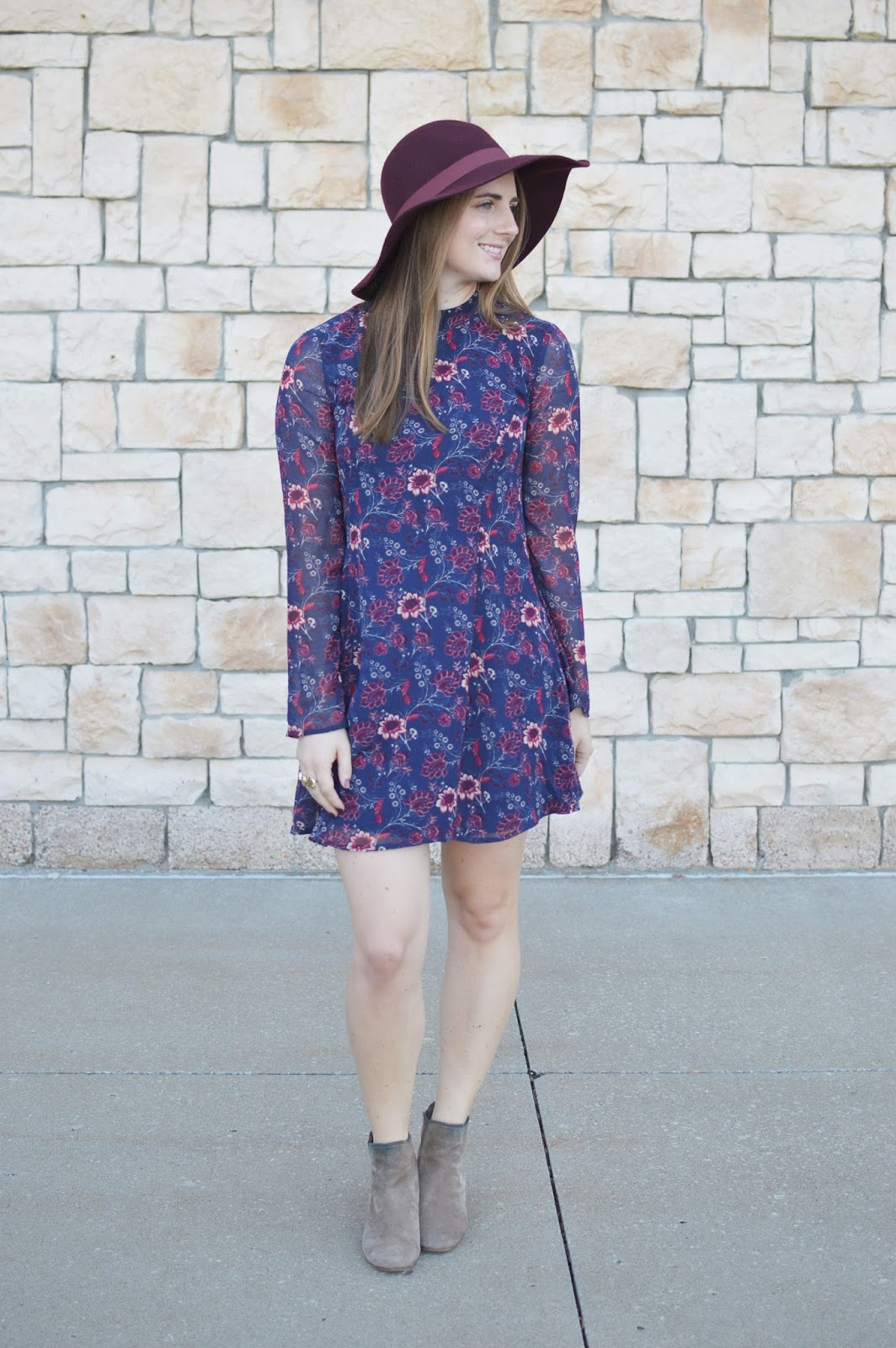 floral print dress for fall | what to wear this fall | dress with a floppy hat and booties | cute fall outfit ideas | fall outfits | a memory of us |
