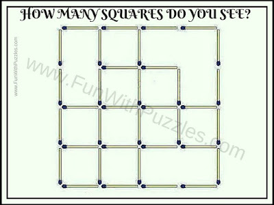 Picture Puzzle in which one has to count number of squares in picture puzzle image