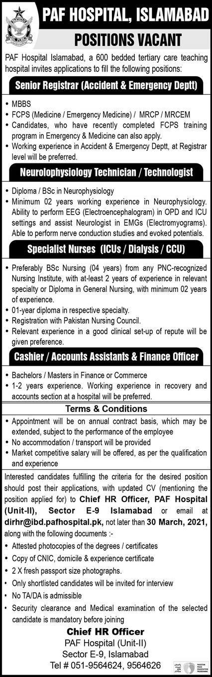 PAF Hospital Islamabad Jobs Advertisement 2021