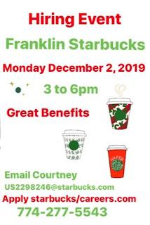 Franklin Starbucks - hiring event - Dec 2