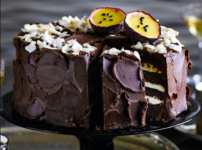 Tarta de mousse de chocolate coco y pasión.