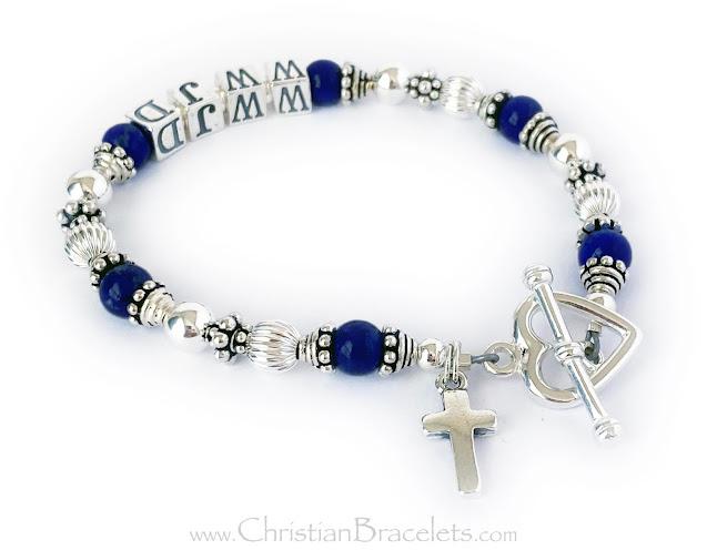 CB- WWJD-7 Bracelet Lapis Lazuli WWJD Bracelet