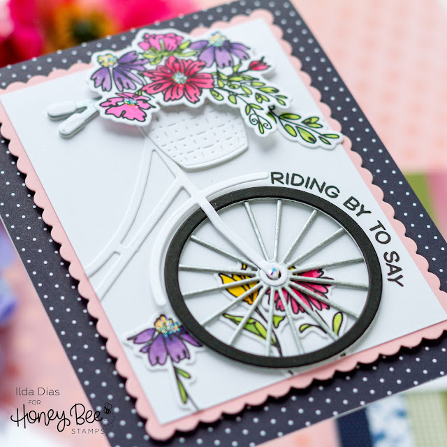 Riding By, Bicycle, Friendship Card,Honey Bee Stamps, Summer Stems, Sneak Peek,Card Making, Stamping, Die Cutting, handmade card, ilovedoingallthingscrafty, Stamps, how to,