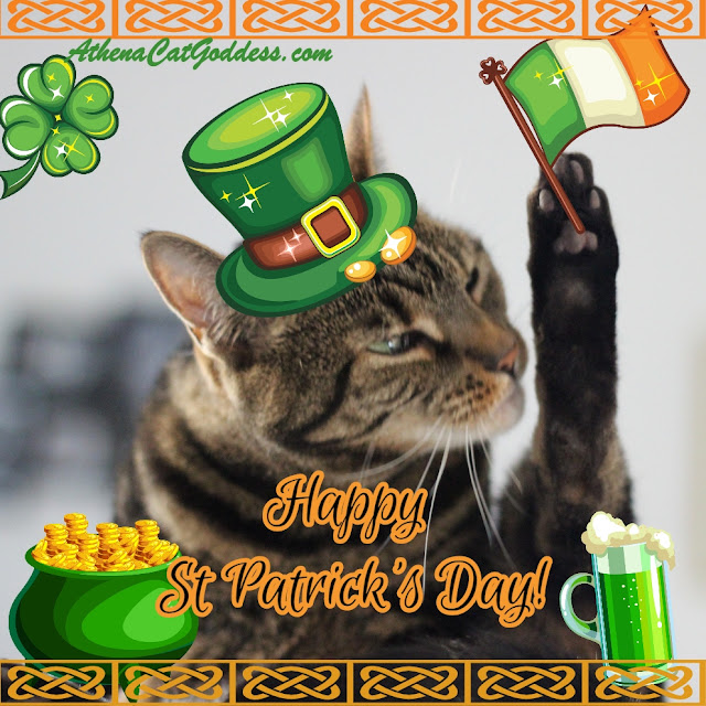 St Patrick's Day cat art