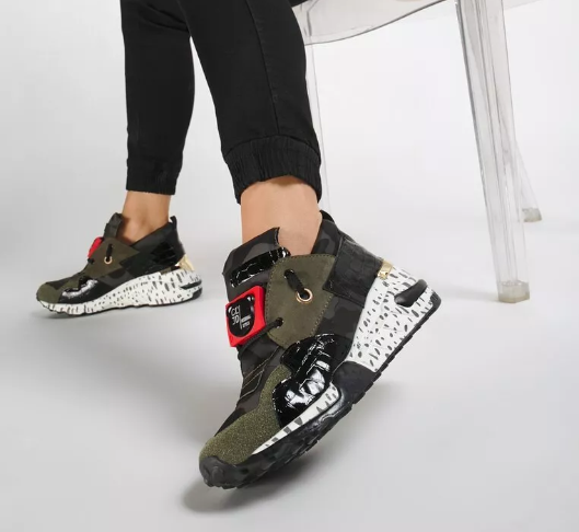 Sneakersi femei verzi miltary moderni la moda ieftini