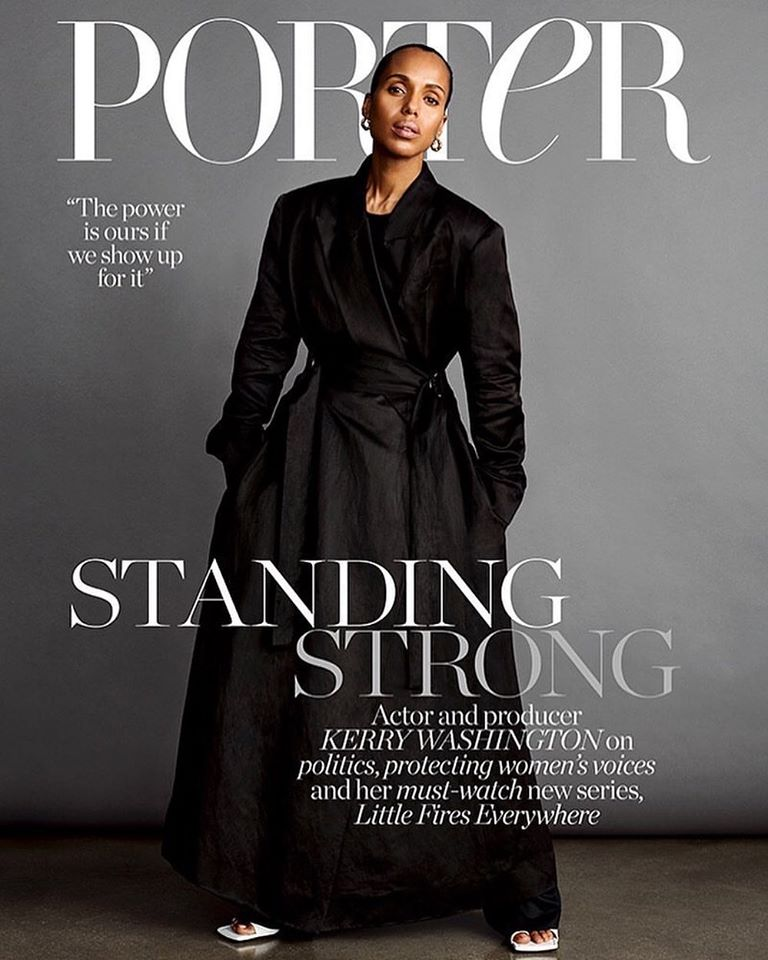 Kerry Washington poses for Porter Magazine March 2020