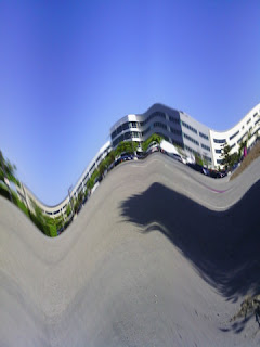 Distorted image of office building and environs (Narrative Clip)