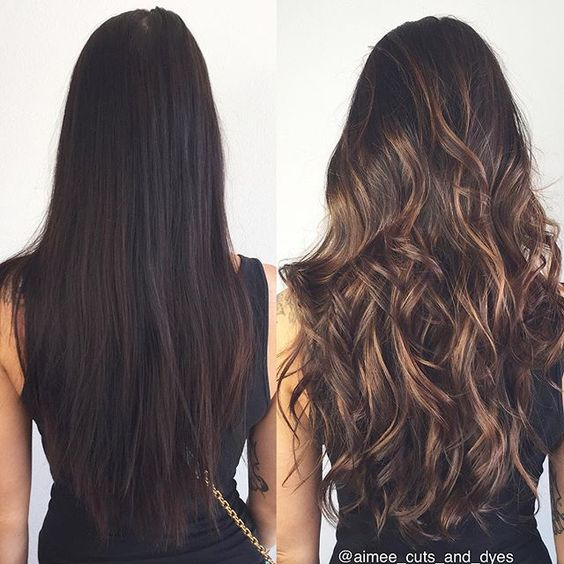 caramel-highlights-on-brunette-hair-color