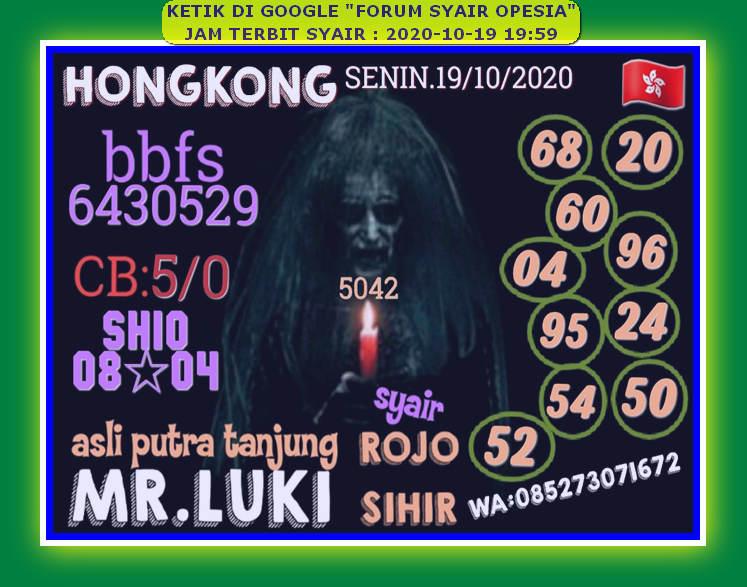 Kode syair Hongkong senin 19 oktober 2020 57