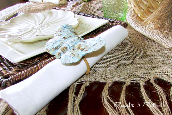 Butterfly napkin rings on a spring tablescape
