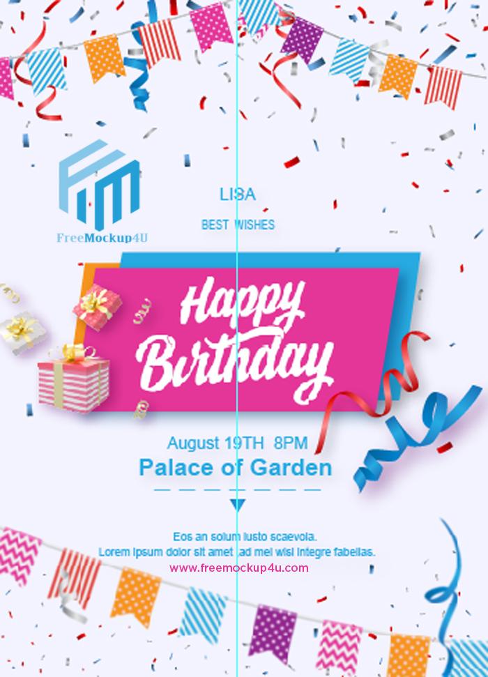 Bunting Children's Cartoon Happy Birthday Party