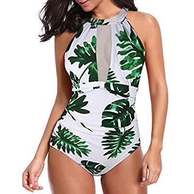 35% OFF Women One Piece Swimsuit High Neck Plunge Mesh Ruched Monokini Swimwear