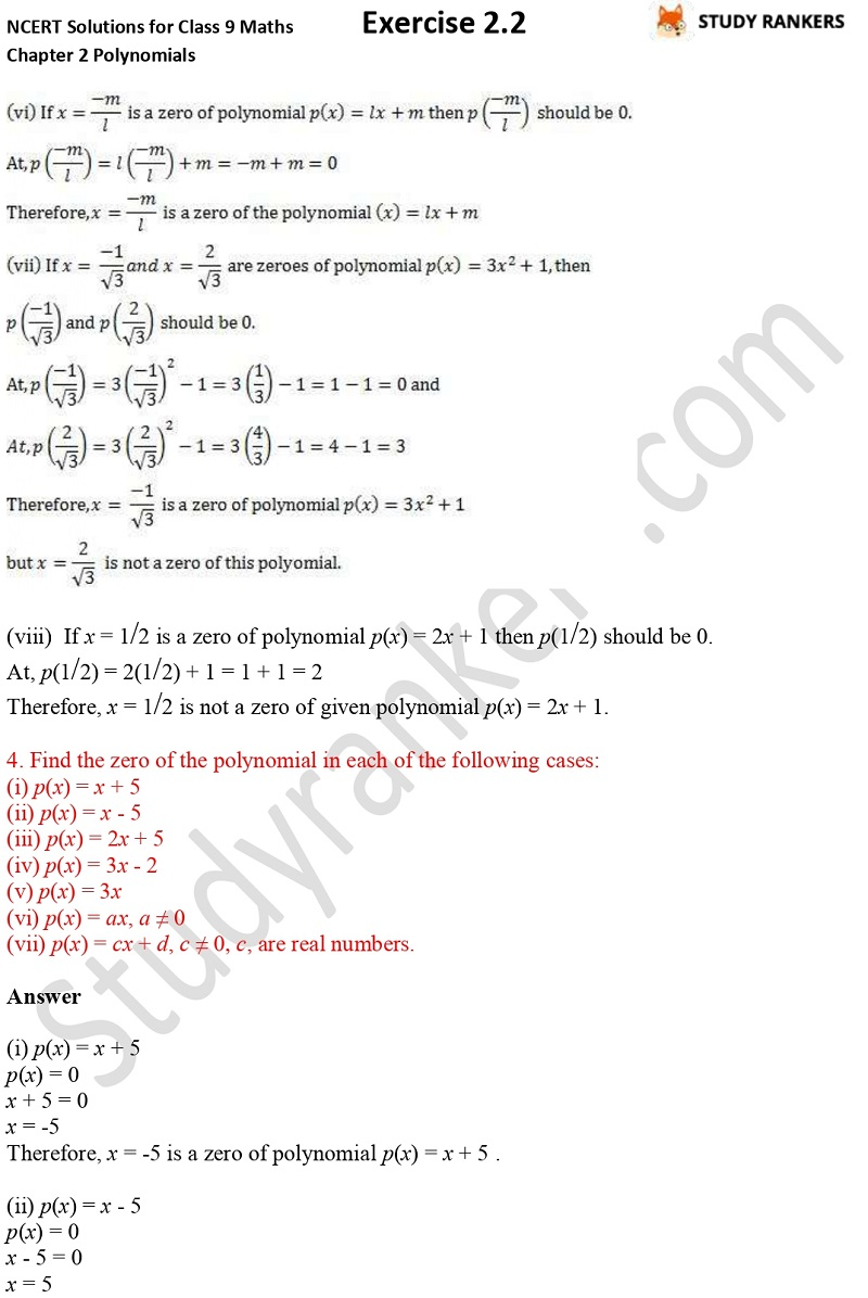 NCERT Solutions for Class 9 Maths Chapter 2 Polynomials Exercise 2.2 Part 3