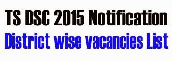 TS DSC 2015 Notification, District wise vacancies List,caste,roster wise vacancies