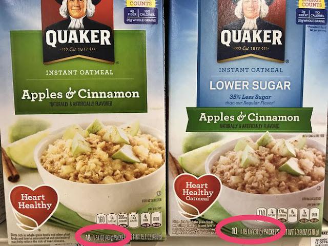 Sản phẩm yến mạch ăn liền mới của Quaker Oatmeal có ghi giảm 35% lượng đường. Trên thực tế, chúng bị cắt bớt 35% khối lượng, giá bán vẫn giữ nguyên