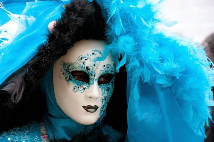 Close up of a blue mask at the Carnival in Venice