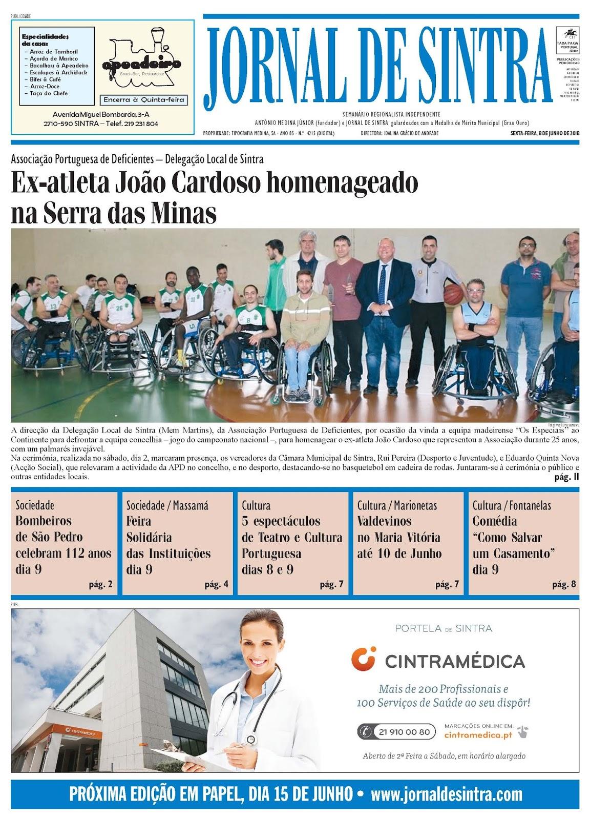 Capa da edição de 08-06-2018