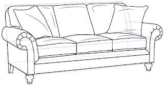 Cara Mudah Menggambar atau sketsa Kursi Sofa
