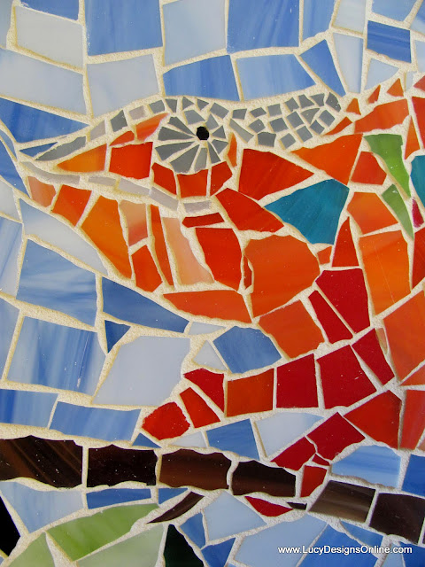 stained glass mosaic orange chameleon