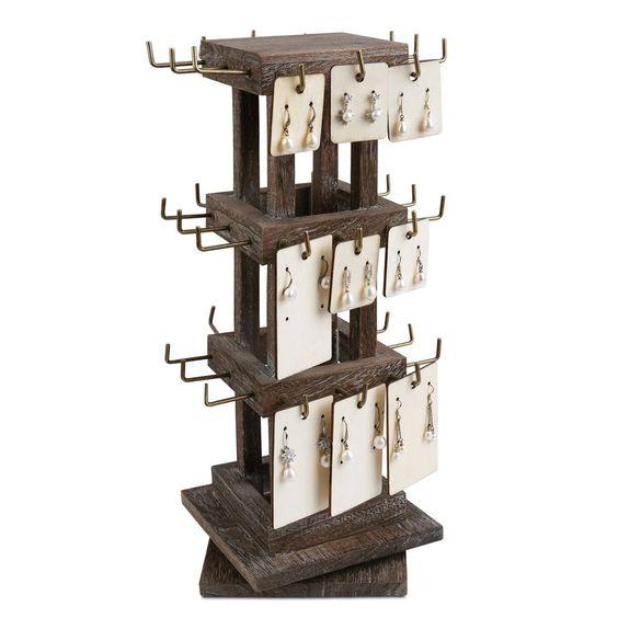 #WDJ5036CF Natural Wood Rotating 36 Hooks Jewelry Tower