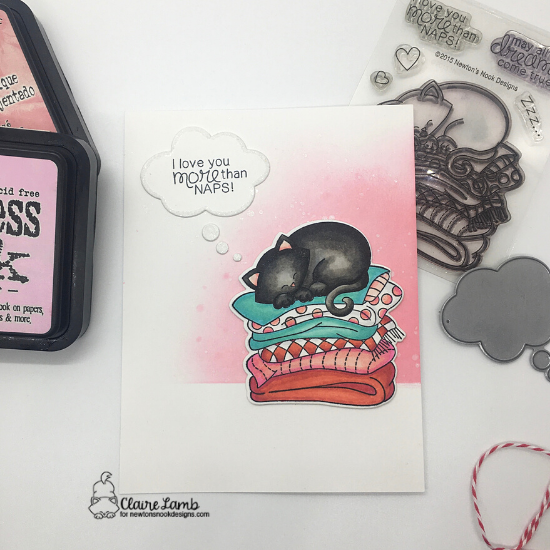 I love you more than naps by Claire features Newton's Naptime by Newton's Nook Designs; #newtonsnook, #inkypaws, #cardmaking, #catcards