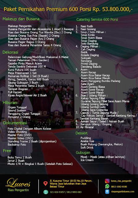 Catering pernikahan 300 undangan dengan jumlah porsi makanan 600 orang / pax