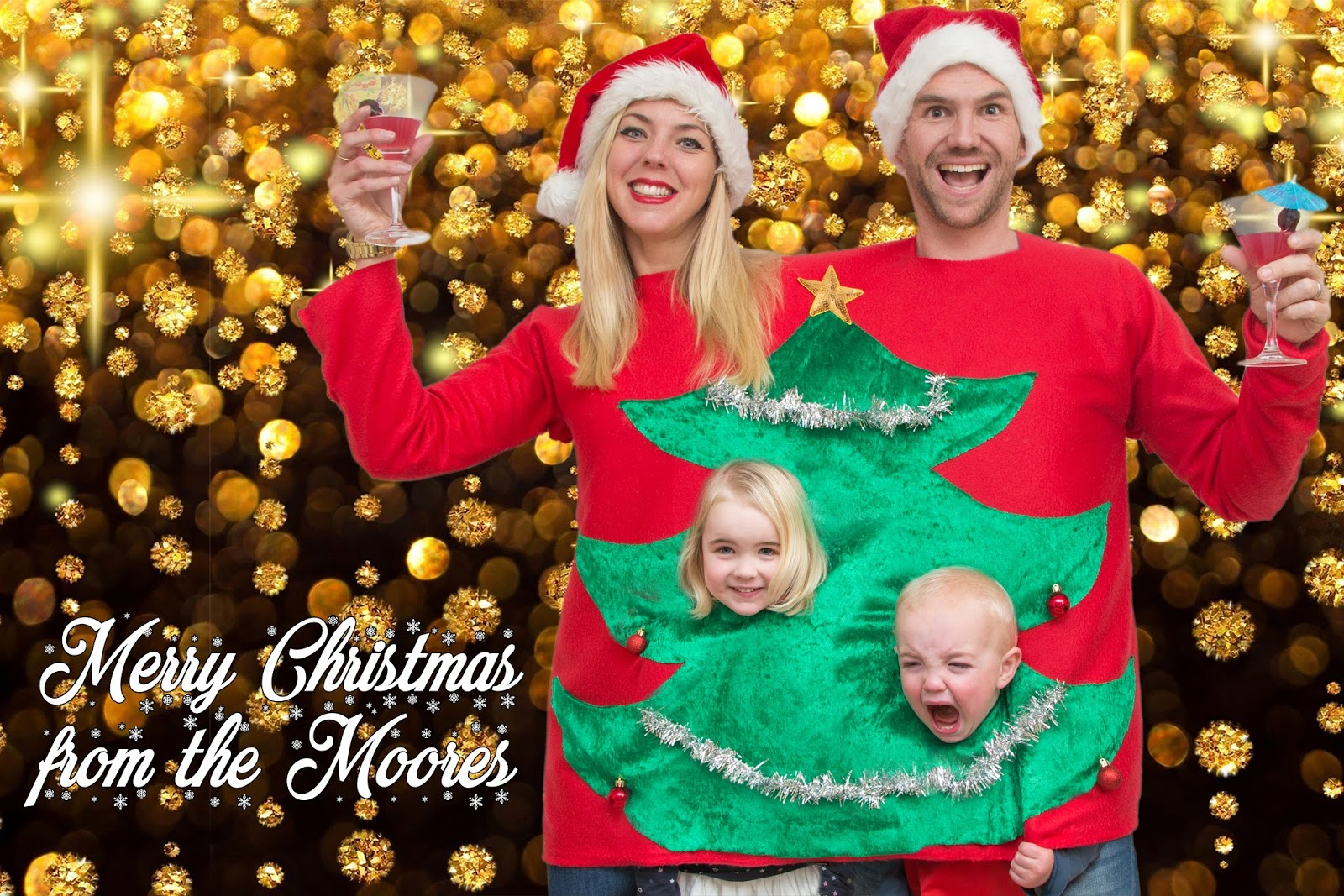 cheesy christmas family photo
